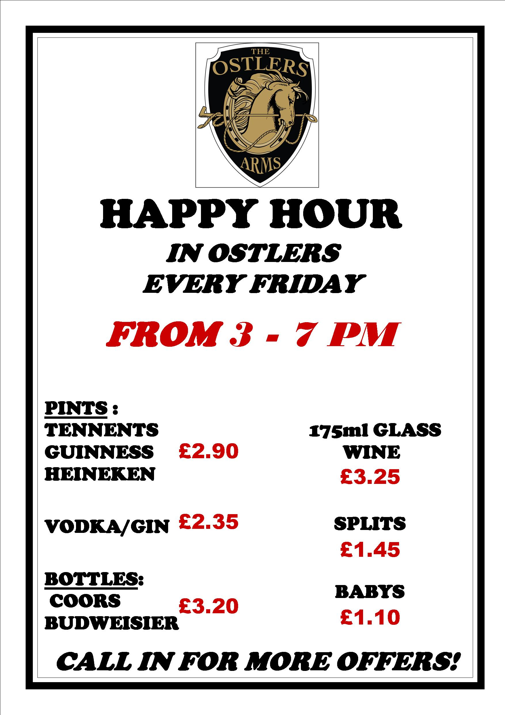 Ostlers New Friday Night Happy Hour