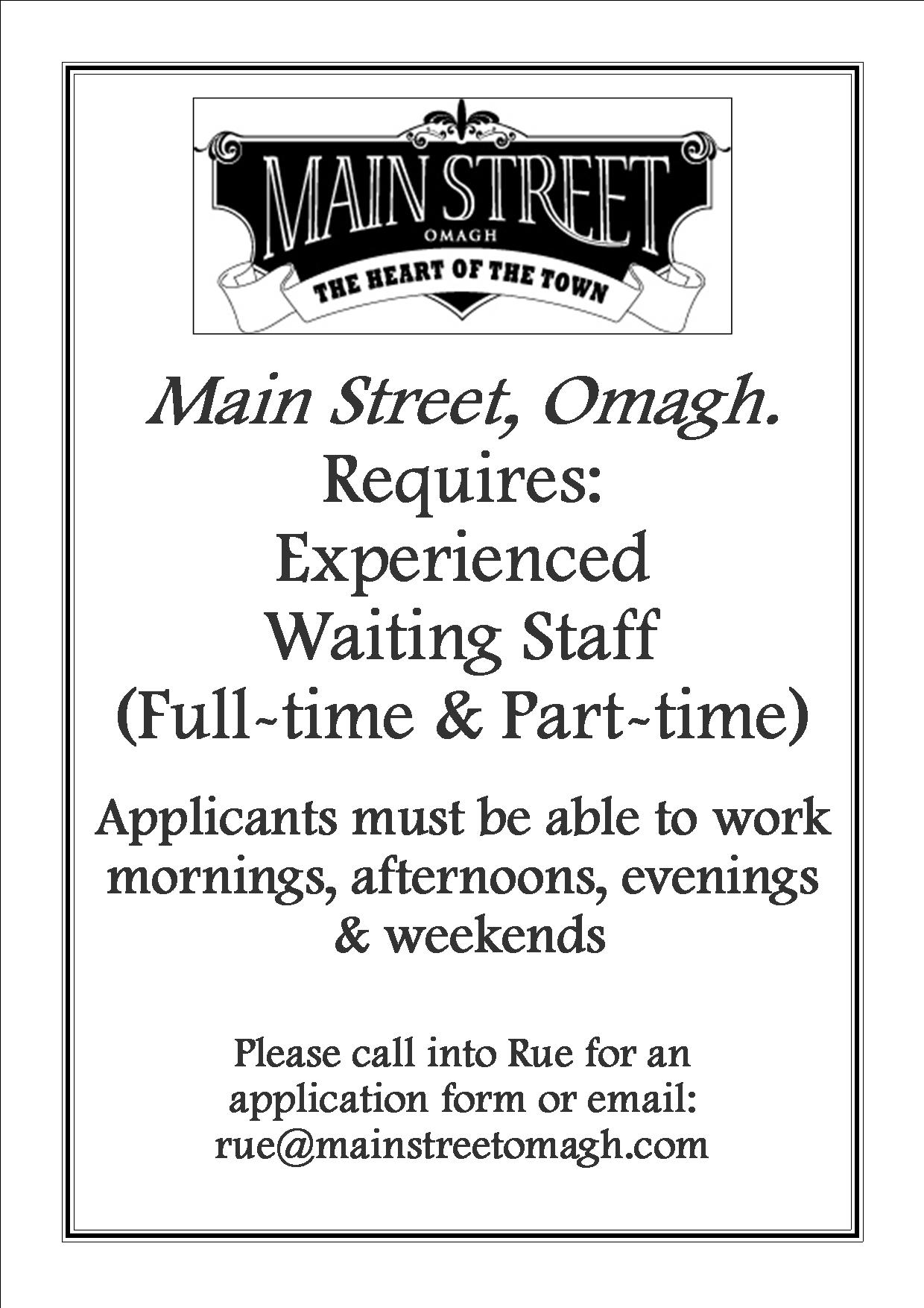 WAITING STAFF AD APRIL 16